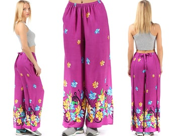 Flare Pants Palazzo CULOTTES Bell Bottom Pants 90s High Waisted Trousers Boho Hippie Wide Leg Baggy Bohemian Floral Purple Festival Medium