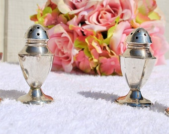 Four Mini Sterling Silver Salt and Pepper Shakers, (2 sets), Small, Tiny, Petite, Set