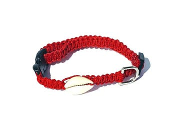 Red Hemp, Shell, Small Dog, Cat, Kitten, Collar, Boho, Adjustable, Beach