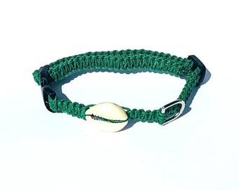 Green Hemp Collar, Shell, Small Dog, Cat, Kitten, Collar, Boho, Adjustable, Beach