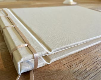ribbon-bound linen guest book - 21cm square