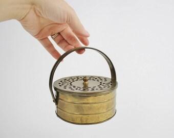 Vintage Brass Trinket Box - Round Brass Cricket Box with Lid and Handle - Mid Century India Brass Storage Box