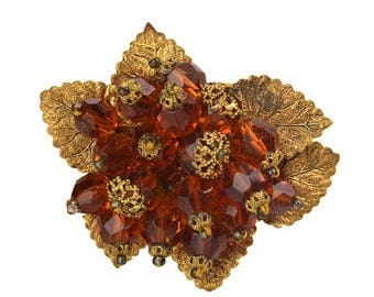 50% OFF Vintage Czech Amber Glass Beaded Flower Cluster, Gold-tone Filigree, Golden Leaves Brooch Made in Czechoslovakia
