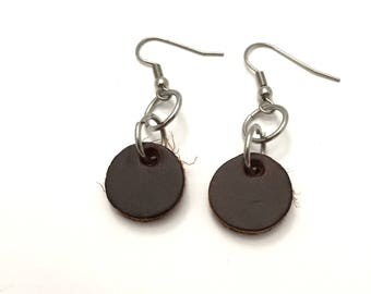 Brown Round Leather Earrings