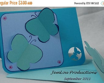 Blue 3D Butterflies Card