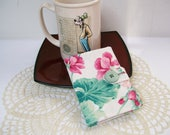 Pink Geranium TEA BAG WALLET White Mint/Sage Green with Loop Closure & Sage Green Button Credit Card Organizer