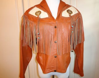 Vintage Bolero Leather Jacket with Suede Fringe, Bolos and Cowhide Decorative Design, Southwestern Style Woman's Size XL in Good Condition