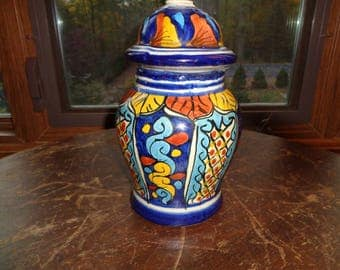 Vintage Mexican Folk Art Style Lamp, Hand Painted Ceramic Small Accent Lamp in working condition and signed on the bottom by T. Ruth, Mex