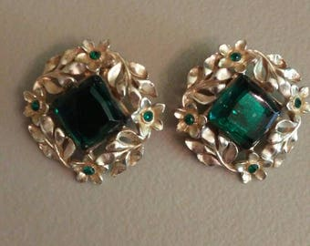 Elegant vintage large gold square earrings with green plastic stone accent