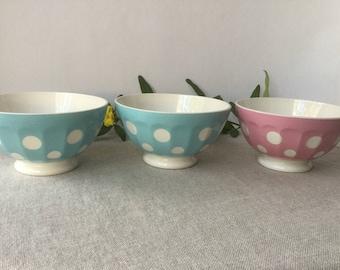 French vintage 3 bowls, polka dot bowl , pink and blue, digoin Sarreguemines France, earthenware
