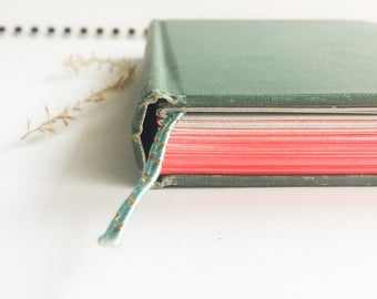 Hardcover Journal - Upcycled Journal, Hardcover Notebook, Pink and Grey Ombre Paper Journal, Green Journal, Handmade, Hand bound journal