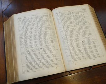 Large Antique 1857 Holy Bible, Leather Bound, Gilt Edges, American Bible Society, New York