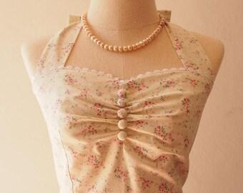 Mid Year SALE Sundress White Floral Dress Pink Floral Rose Vintage Summer Dress Swing Skirt Halter Rockabilly Inspired Tea Party Dress La
