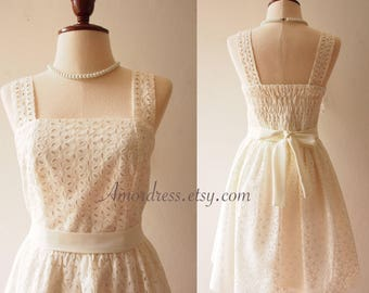 Bridal Dress Vintage Style Off White Lace Dress Simply Romantic White Dress Engagement Dress Vintage Inspired Sundress