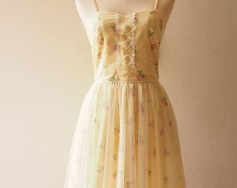 FAIRY ROMANCE - Yellow Floral Dress Tulle Dress Tutu Skirt Dress Vintage Floral Dress Rose Rustic wedding Dress Yellow Summer Dress