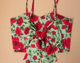 USD20 SALE -Crop Top and Skirt Set Stunning Red Rose Beauty and The Beast Summer Matching Crop Top and skirt Set -S-M (US4-US6)