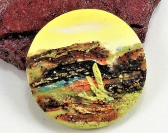 StudioStJames-Artisan Crafted Polymer Clay 34mm Focal Pendant or Cabochon-Desert Mesa-Rustic Mountain Scene--Yellow Brown-PA 100753