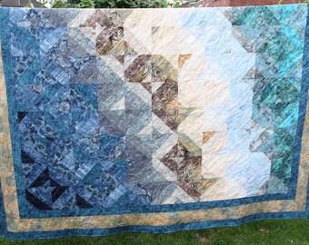 Coastal Storm, King / Queen Batik Patchwork Quilt, Handmade by PingWynny