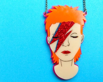 Pink Perspex David Bowie necklace