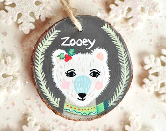 Christmas Bear Ornament. Kids Ornament Handmade, Ornament with Name. One of a Kind Ornament, Little Girl Christmas Gift. White Bear Ornament