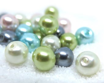 40 Pcs - Assorted Color Glass Pearl Beads - 8mm in diameter, hole: 1.5mm