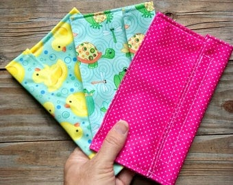 Reusable snack bags eco friendly and washable cloth and velcro