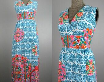 Vintage 1960s Hawaiian Dress 60s Colorful Cotton Luau Maxi Dress Size L