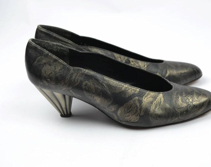 Metallic Floral Print Vintage 80's Stuart Weitzman Leather Court Shoes with Statement Metal Heels us8.5 uk 6.5