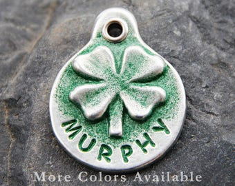 Pet ID Tag - Hand Stamped Pet Tag - Personalized - Dog ID Tag - Shamrock - Dog Tags for Dog - Collar Tag - Dog Name Tag