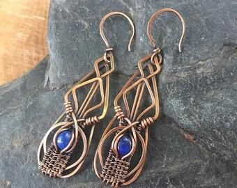 On Sale Lapis Lazuli Earrings -Wire Wrap Earrings - Copper Earrings - Copper Wire Wrap - Gemstone Earrings - Boho Jewelry - Sweet Water Silv