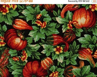 ON SALE Gourds, Pumpkins, Gourds and Leaves,  Harvest Fabric, Fall Fabric, 03034