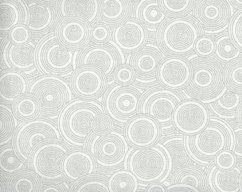 "ON SALE 108"" Quiltbacking, Extra Wide Fabric, Gray on White Fabric,  Fabric, Circle Fabric, Gray Fabric, 01158A"
