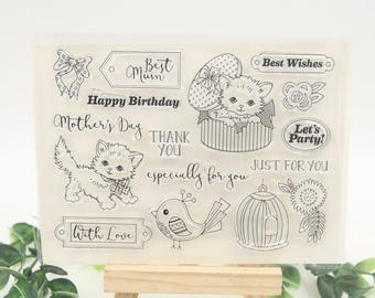 Fluffy Kitten Clear Stamp Set