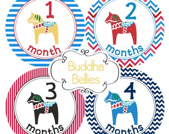 Dala Horse Swedish Monthly Baby Stickers Baby Shower Gift Scandinavian Baby Swedish Baby Bodysuit Stickers Baby Monthly Stickers