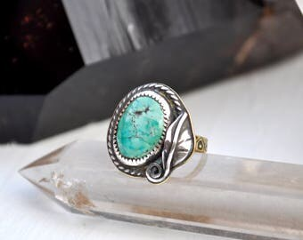 Sky People Collection | Turquoise x Brass x Sterling Silver | Feather Ring