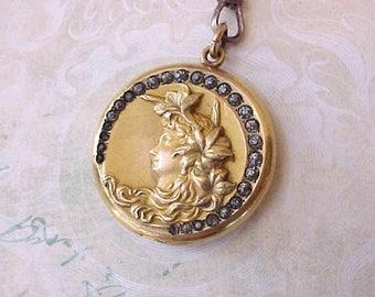 "Stunning Art Nouveau Era Jeweled Locket with Jeweled Grosgrain Ribbon ""Chain"""