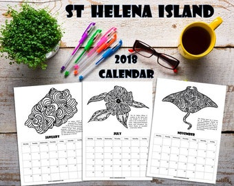 2018 Coloring Calendar. St Helena Island.  Adult coloring pages.  G-Unique. Charmed on St Helena. Instant Download