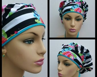 Bouffant Cap/Medical Cap/Surgical Scrub Hat - Poppy Flowers Over a Stripe Ground- 100 % Cotton