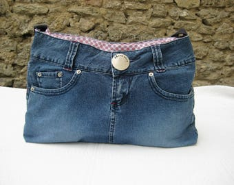 Made from a skirt recycled denim bag