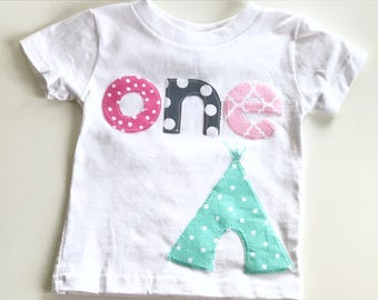 Girls First Birthday shirt happy camper teepee tent woodland wild one one bear