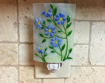 Nightlight Fused Glass blue flowers.