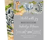 Safari Baby Shower Invitation Boys Adventure - Jungle Sprinkle - Baby Boys Invite - Mod Party - Custom Printable or Printing - Paper Goods