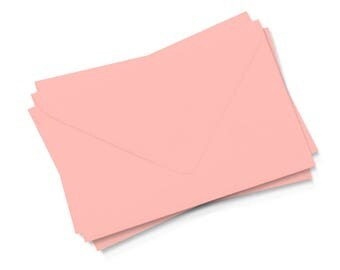 Coral Envelopes A6 European Flap,  Set of 10, Self Sealing, Wedding Invitations, Response Card Party Supplies, Paper Goods, Stationery
