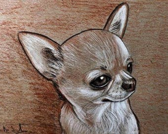 Portrait drawing Chihuahua Dog Blood Pencil