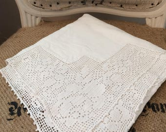 Vintage crochet-edge square tablecloth, monogram tablecloth