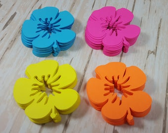 Hibiscus scrapbook flowers, Die cut flowers, Bright colors, Hawaiian flowers, Tropical flowers