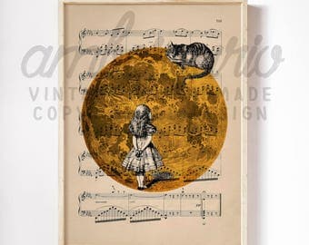 Midnight Moonlight and the Cheshire Cat Alice in Wonderland Inspired Print on an Unframed Upcycled Bookpage