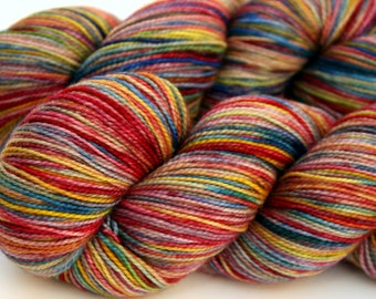 "Kettle Dyed Sock Yarn, Superwash Merino, Nylon and Stellina Fingering Weight, in ""Watercolors"""