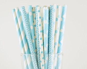 Sky Blue Paper Straw Mix/Striped/Chevron/Polka Dot/Heart Straws/Party Decor/Cake Pop Sticks/Party Supplies/Wedding/Baby Shower