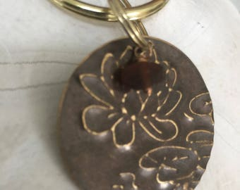 Lotus Brown Sea Glass and Mixed Media Keychain, Sea Glass Key chain, Maine Sea Glass Jewelry Accessories Keychain Beach Gift